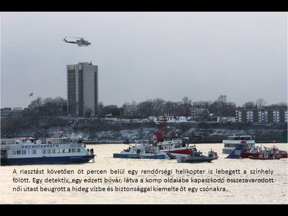 A riasztást követően öt percen belül egy rendőrségi helikopter is lebegett a színhely fölött. Egy detektív, egy edzett búvár, látva a komp oldalába ka