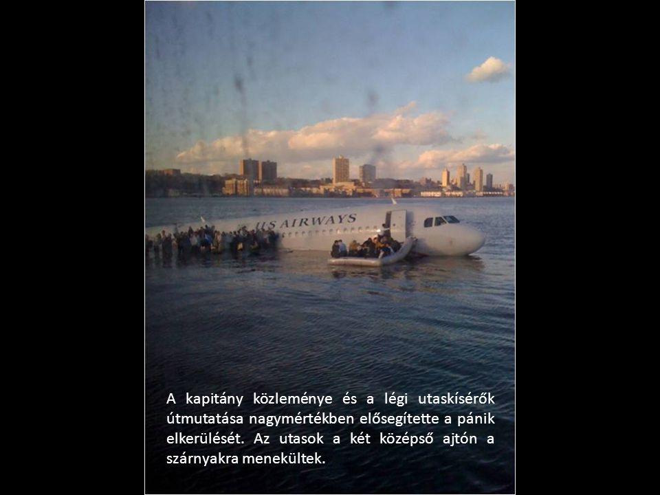 A kapitány közleménye és a légi utaskísérők útmutatása nagymértékben elősegítette a pánik elkerülését. Az utasok a két középső ajtón a szárnyakra mene