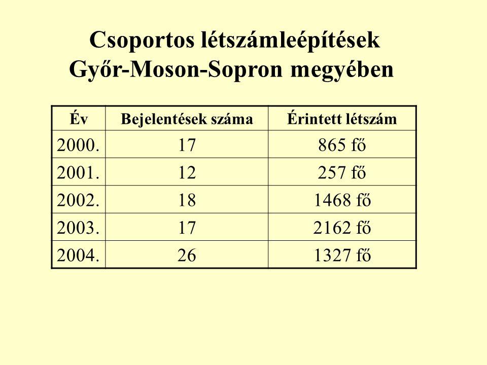 Csoportos létszámleépítések Győr-Moson-Sopron megyében ÉvBejelentések számaÉrintett létszám 2000.17865 fő 2001.12257 fő 2002.181468 fő 2003.172162 fő 2004.261327 fő