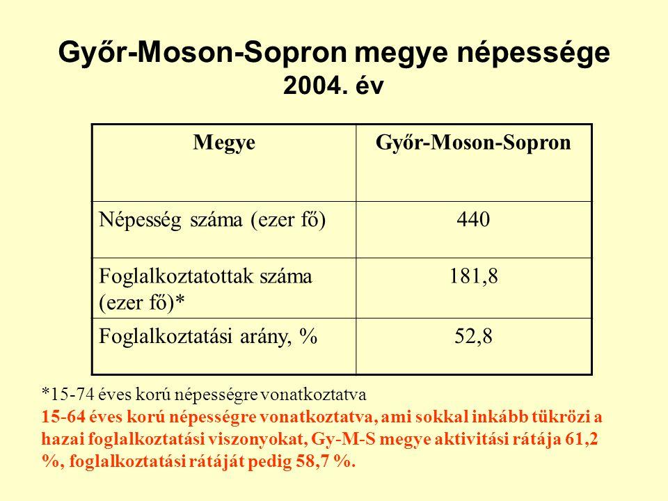 Működő gazdasági szervezetek száma 2004.