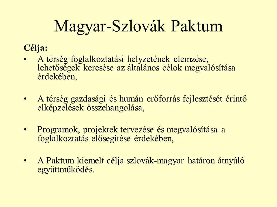 Magyar-Szlovák Paktum Célja: •A térség foglalkoztatási helyzetének elemzése, lehetőségek keresése az általános célok megvalósítása érdekében, •A térség gazdasági és humán erőforrás fejlesztését érintő elképzelések összehangolása, •Programok, projektek tervezése és megvalósítása a foglalkoztatás elősegítése érdekében, •A Paktum kiemelt célja szlovák-magyar határon átnyúló együttműködés.