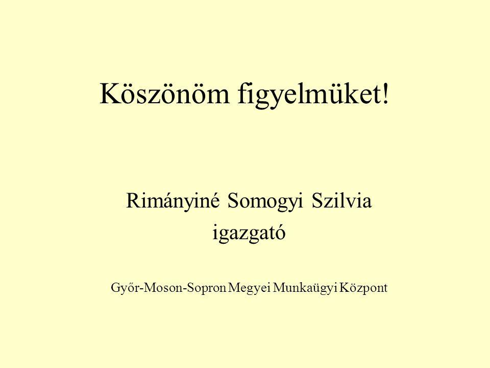 Köszönöm figyelmüket! Rimányiné Somogyi Szilvia igazgató Győr-Moson-Sopron Megyei Munkaügyi Központ