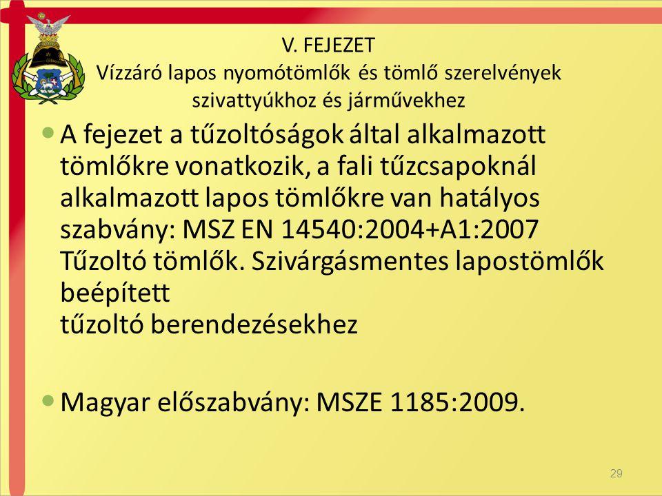  A fejezet a tűzoltóságok által alkalmazott tömlőkre vonatkozik, a fali tűzcsapoknál alkalmazott lapos tömlőkre van hatályos szabvány: MSZ EN 14540:2004+A1:2007 Tűzoltó tömlők.