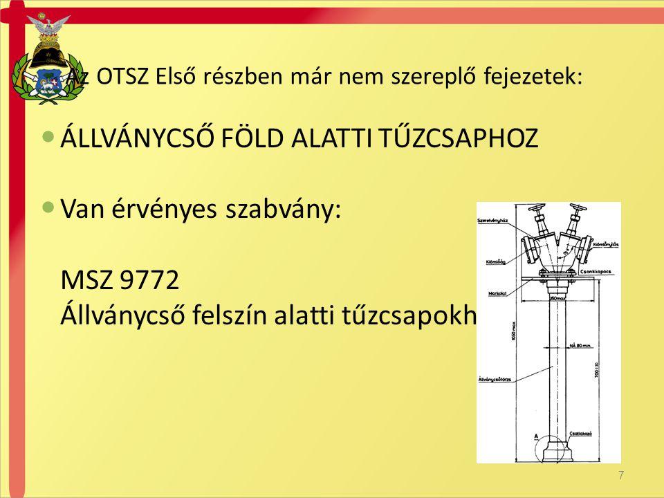  ÁLLVÁNYCSŐ FÖLD ALATTI TŰZCSAPHOZ  Van érvényes szabvány: MSZ 9772 Állványcső felszín alatti tűzcsapokhoz Az OTSZ Első részben már nem szereplő fejezetek: 7
