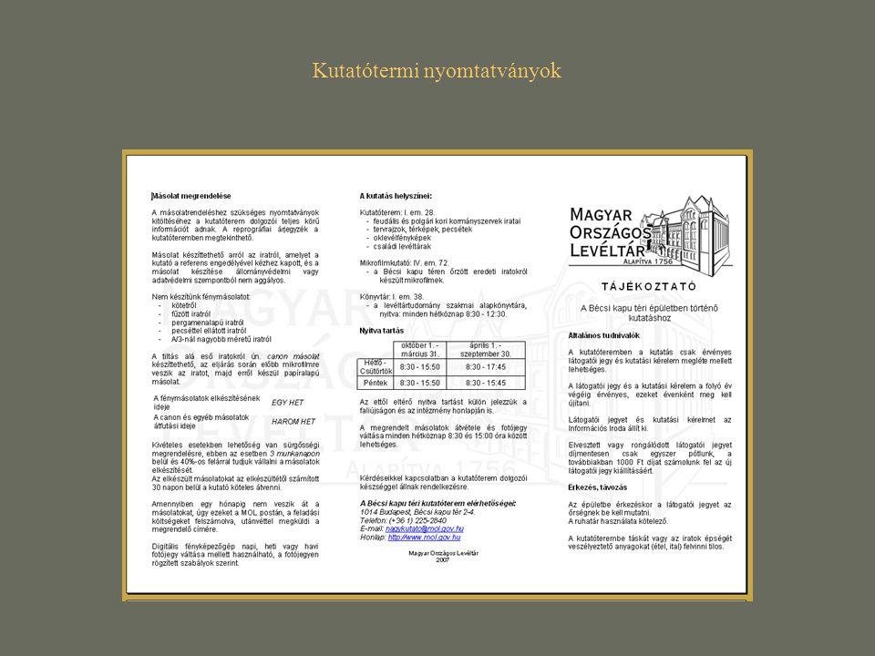 Kutatótermi nyomtatványok