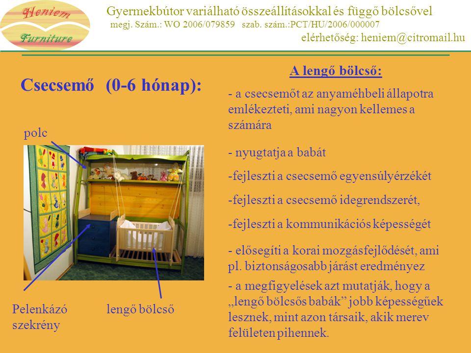 Gyermekbútor variálható összeállításokkal és függő bölcsővel megj. Szám.: WO 2006/079859 szab. szám.:PCT/HU/2006/000007 elérhetőség: heniem@citromail.
