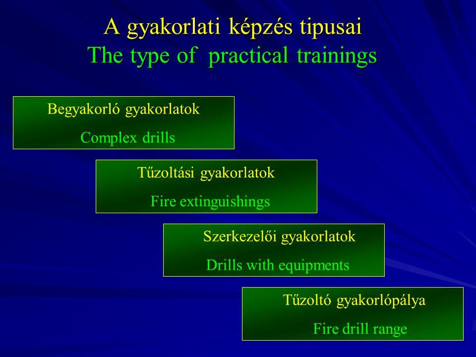 A gyakorlati képzés tipusai The type of practical trainings Begyakorló gyakorlatok Complex drills Szerkezelői gyakorlatok Drills with equipments Tűzoltási gyakorlatok Fire extinguishings Tűzoltó gyakorlópálya Fire drill range