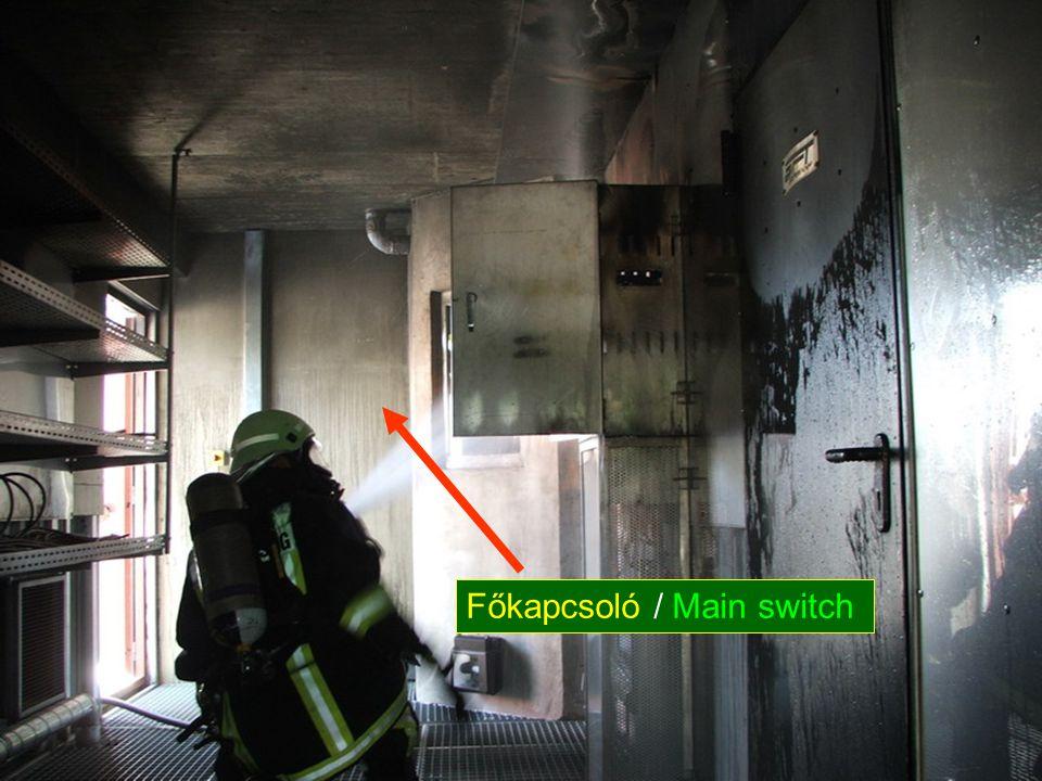 Kapcsolószekrény tűz... Electric switchboard cabinet fire.. Főkapcsoló / Main switch