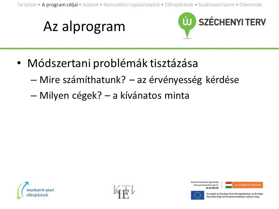 Az alprogram • Módszertani problémák tisztázása – Mire számíthatunk.