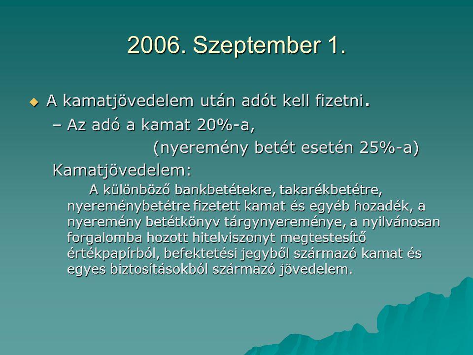 2006. Szeptember 1.  A kamatjövedelem után adót kell fizetni. –Az adó a kamat 20%-a, (nyeremény betét esetén 25%-a) (nyeremény betét esetén 25%-a) Ka