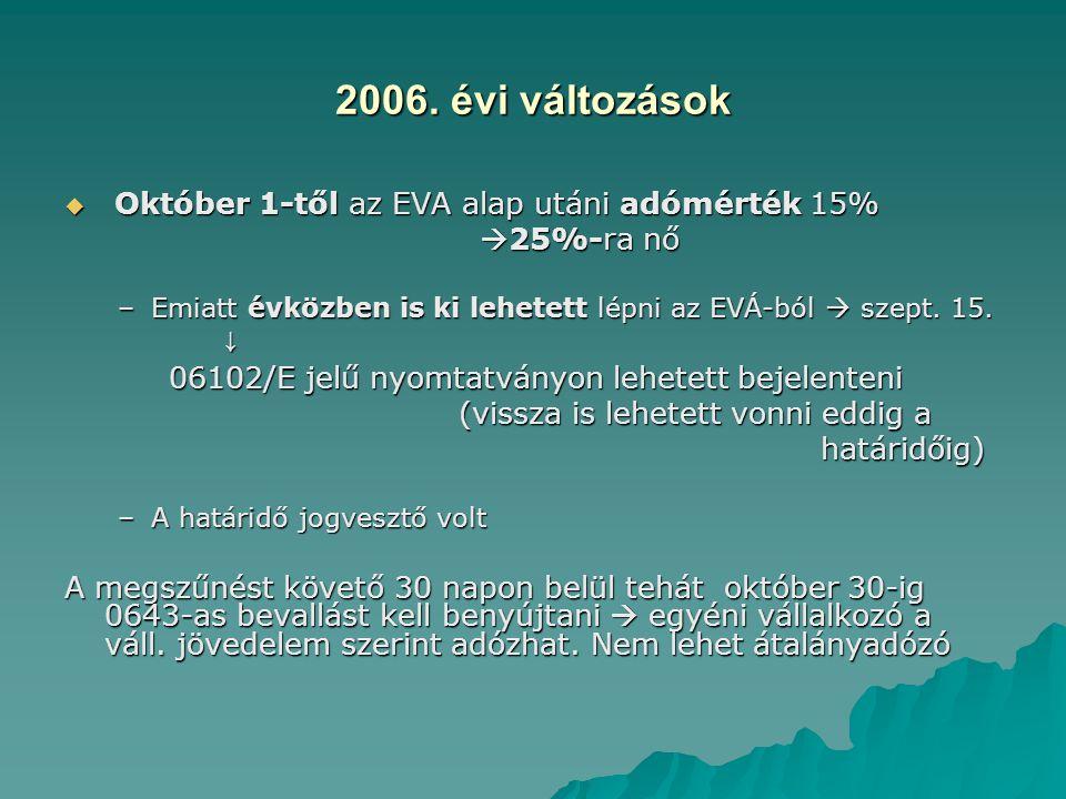 2006. évi változások  Október 1-től az EVA alap utáni adómérték 15%  25%-ra nő  25%-ra nő –Emiatt évközben is ki lehetett lépni az EVÁ-ból  szept.