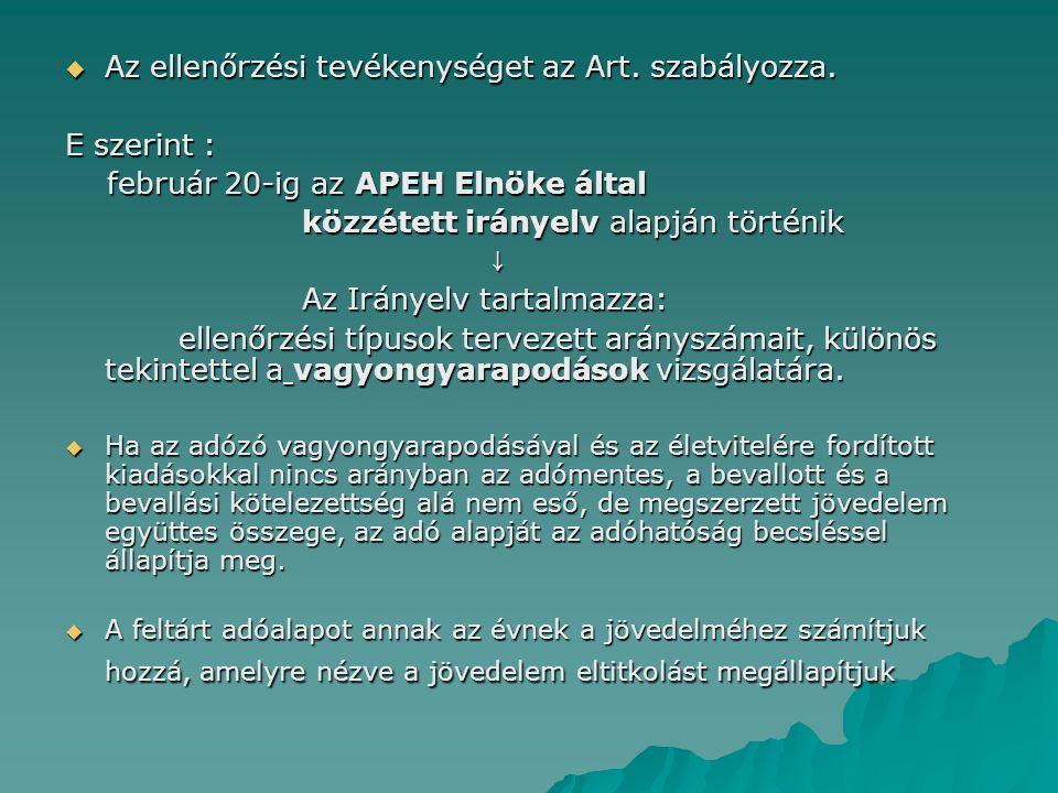  Az ellenőrzési tevékenységet az Art. szabályozza. E szerint : február 20-ig az APEH Elnöke által február 20-ig az APEH Elnöke által közzétett iránye