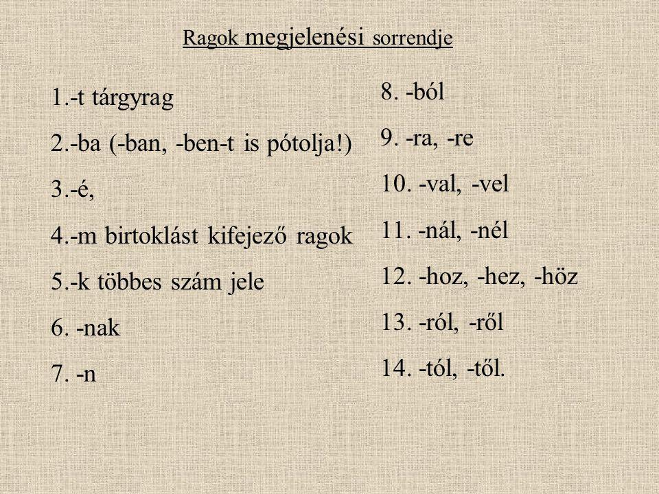 1.-t tárgyrag 2.-ba (-ban, -ben-t is pótolja!) 3.-é, 4.-m birtoklást kifejező ragok 5.-k többes szám jele 6. -nak 7. -n 8. -ból 9. -ra, -re 10. -val,