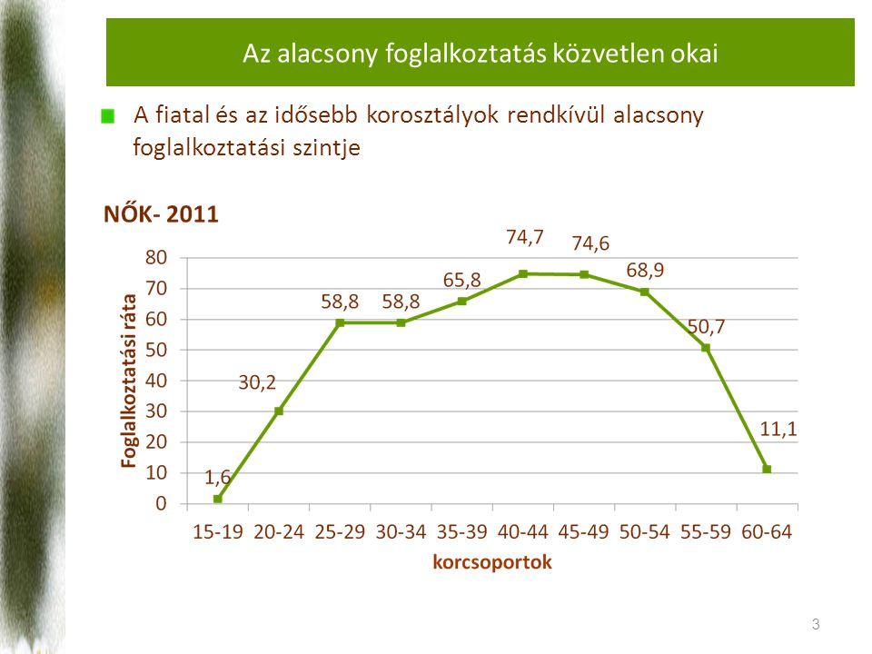 Az alacsony foglalkoztatás közvetlen okai A fiatal és az idősebb korosztályok rendkívül alacsony foglalkoztatási szintje 3