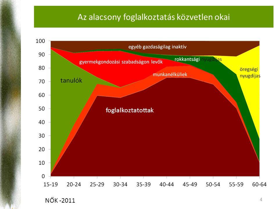 Az alacsony foglalkoztatás közvetlen okai 4 foglalkoztatottak NŐK -2011