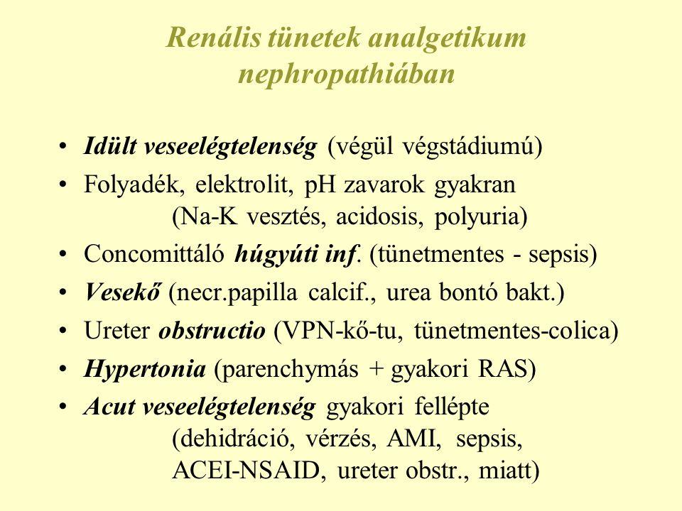 Renális tünetek analgetikum nephropathiában •Idült veseelégtelenség (végül végstádiumú) •Folyadék, elektrolit, pH zavarok gyakran (Na-K vesztés, acido