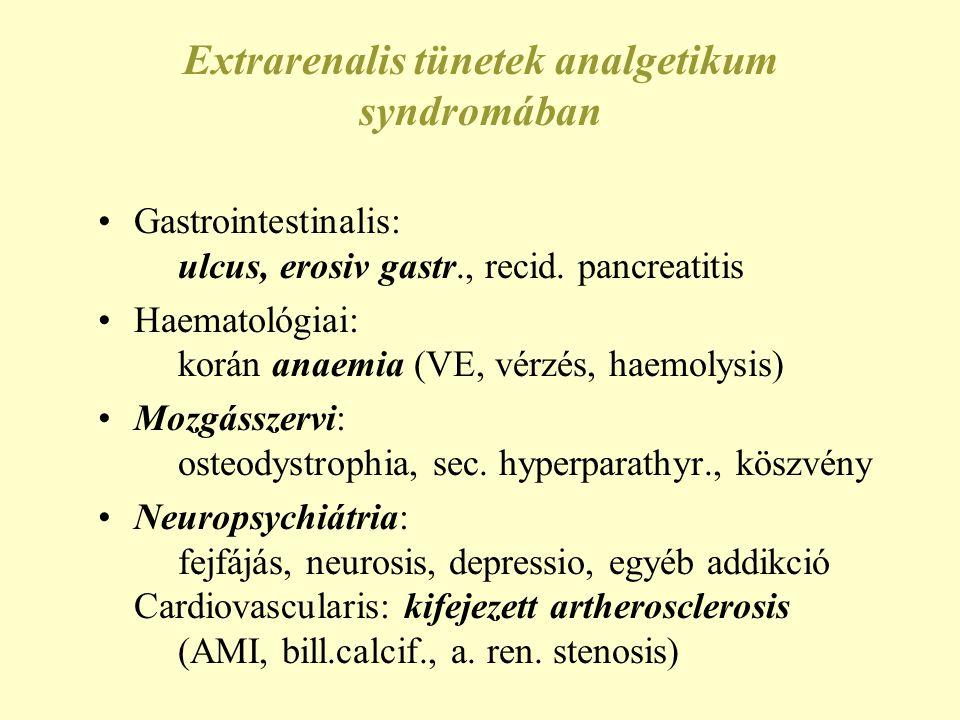 Extrarenalis tünetek analgetikum syndromában •Gastrointestinalis: ulcus, erosiv gastr., recid. pancreatitis •Haematológiai: korán anaemia (VE, vérzés,