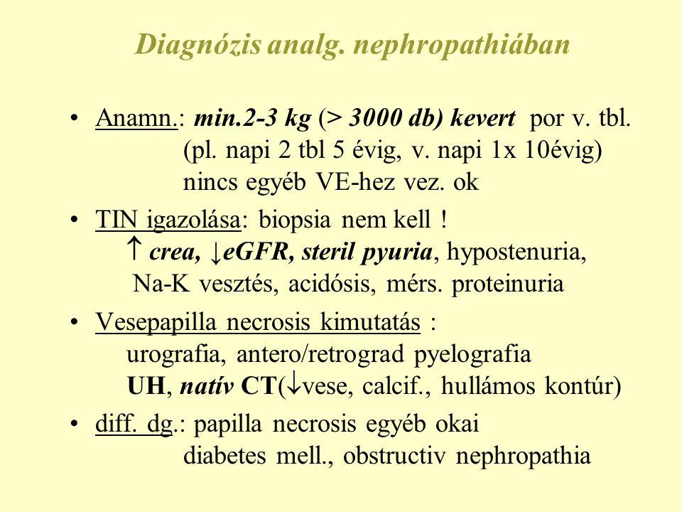 Diagnózis analg. nephropathiában •Anamn.: min.2-3 kg (> 3000 db) kevert por v. tbl. (pl. napi 2 tbl 5 évig, v. napi 1x 10évig) nincs egyéb VE-hez vez.