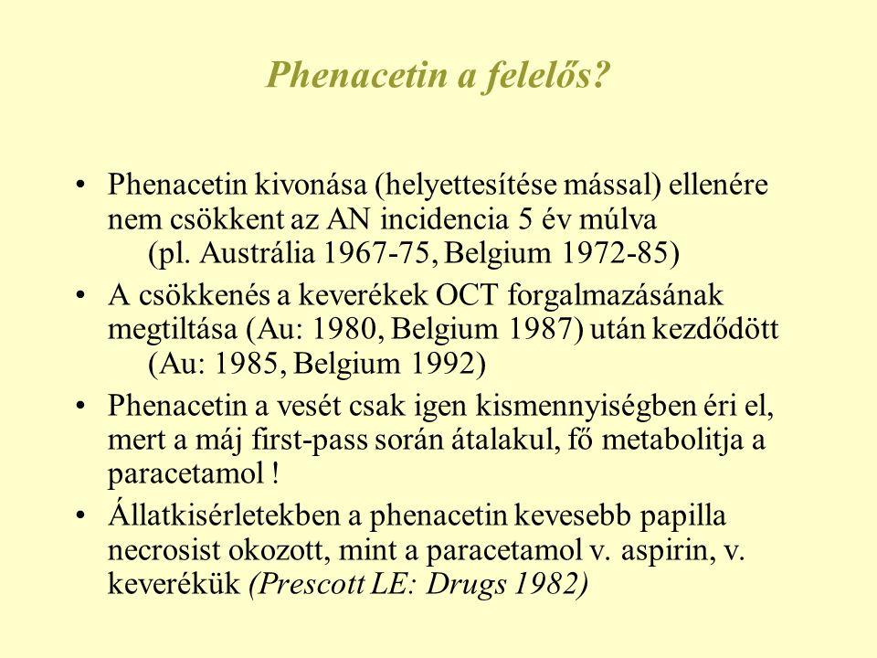Phenacetin a felelős? •Phenacetin kivonása (helyettesítése mással) ellenére nem csökkent az AN incidencia 5 év múlva (pl. Austrália 1967-75, Belgium 1