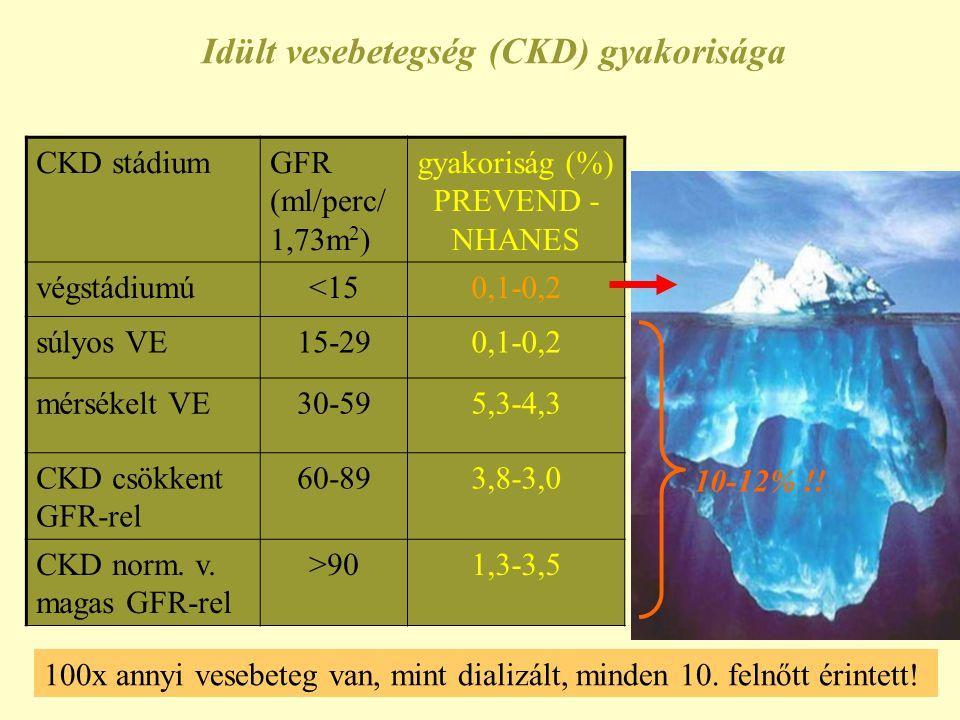 Idült vesebetegség (CKD) gyakorisága CKD stádiumGFR (ml/perc/ 1,73m 2 ) gyakoriság (%) PREVEND - NHANES végstádiumú<150,1-0,2 súlyos VE15-290,1-0,2 mé