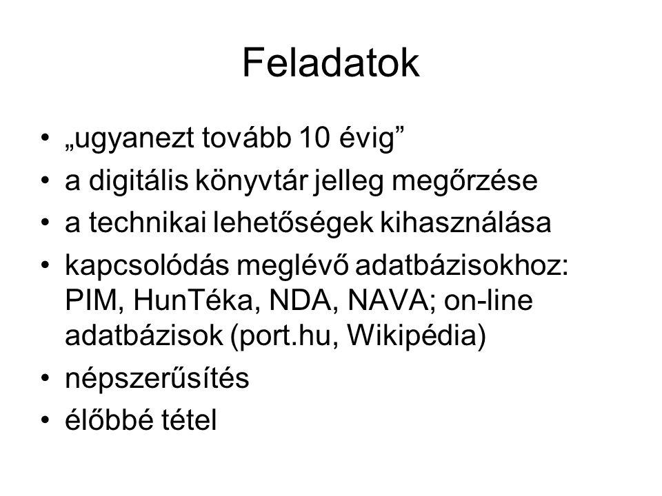 """Feladatok •""""ugyanezt tovább 10 évig •a digitális könyvtár jelleg megőrzése •a technikai lehetőségek kihasználása •kapcsolódás meglévő adatbázisokhoz: PIM, HunTéka, NDA, NAVA; on-line adatbázisok (port.hu, Wikipédia) •népszerűsítés •élőbbé tétel"""