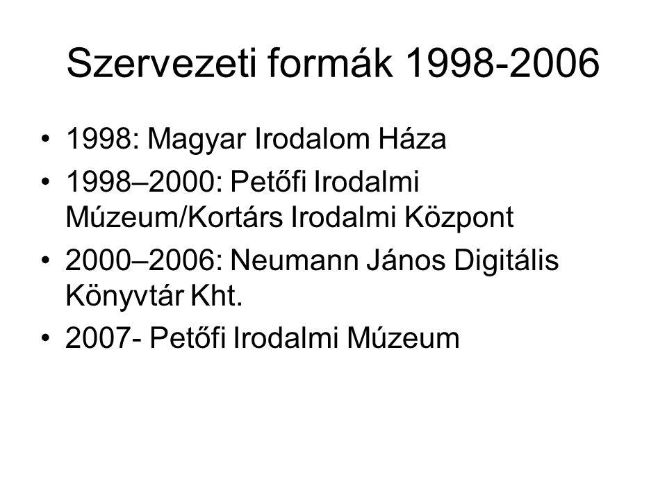 Szervezeti formák 1998-2006 •1998: Magyar Irodalom Háza •1998–2000: Petőfi Irodalmi Múzeum/Kortárs Irodalmi Központ •2000–2006: Neumann János Digitális Könyvtár Kht.