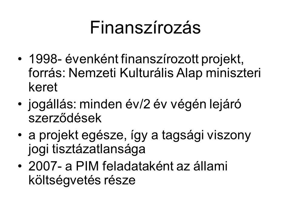 Finanszírozás •1998- évenként finanszírozott projekt, forrás: Nemzeti Kulturális Alap miniszteri keret •jogállás: minden év/2 év végén lejáró szerződések •a projekt egésze, így a tagsági viszony jogi tisztázatlansága •2007- a PIM feladataként az állami költségvetés része