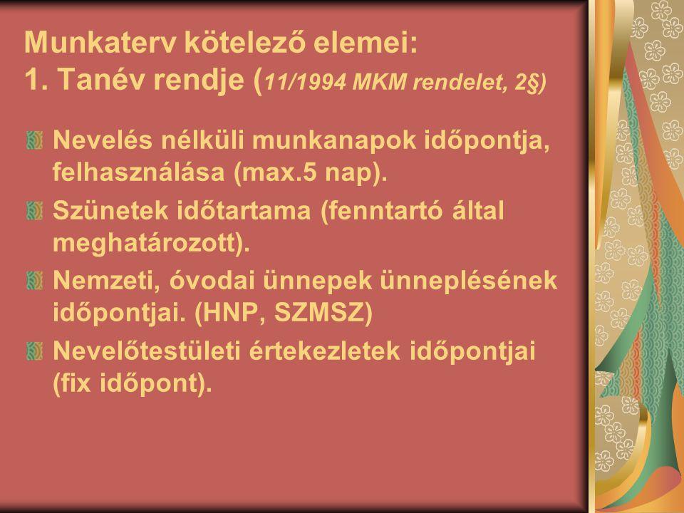 Munkaterv kötelező elemei: 1. Tanév rendje ( 11/1994 MKM rendelet, 2§) Nevelés nélküli munkanapok időpontja, felhasználása (max.5 nap). Szünetek időta
