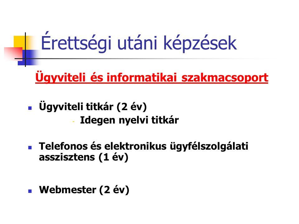 Érettségi utáni képzések Ügyviteli és informatikai szakmacsoport  Ügyviteli titkár (2 év) - Idegen nyelvi titkár  Telefonos és elektronikus ügyfélsz