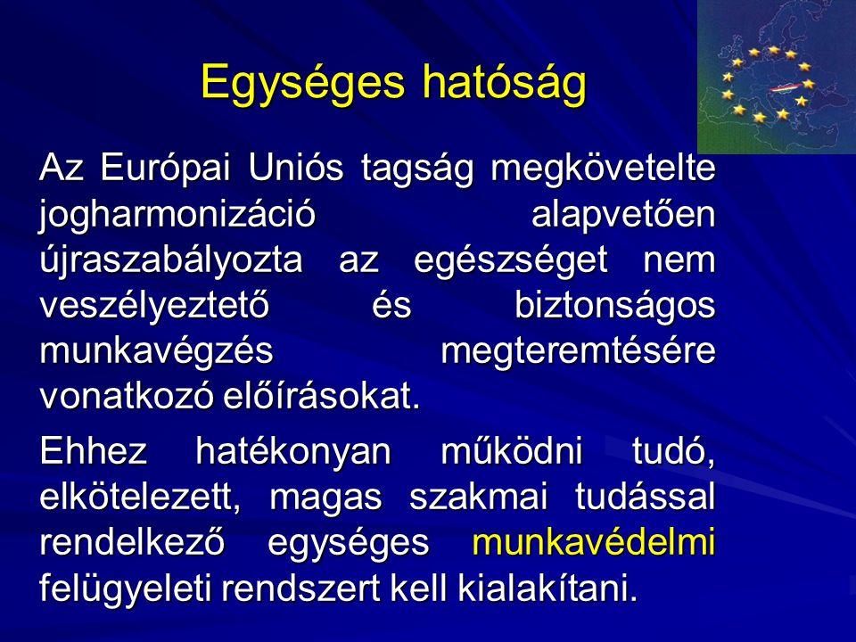 Egységes hatóság Az Európai Uniós tagság megkövetelte jogharmonizáció alapvetően újraszabályozta az egészséget nem veszélyeztető és biztonságos munkav