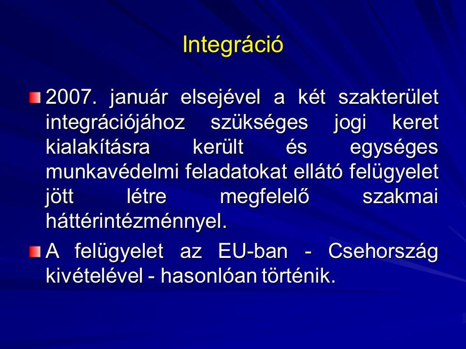 Integráció 2007. január elsejével a két szakterület integrációjához szükséges jogi keret kialakításra került és egységes munkavédelmi feladatokat ellá