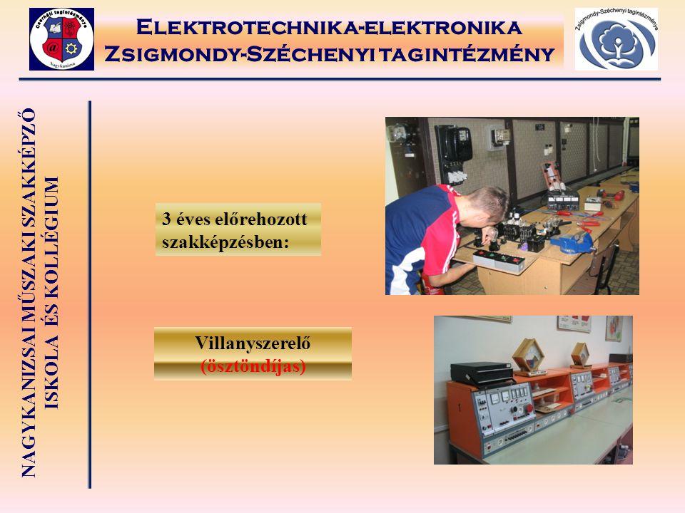 NAGYKANIZSAI MŰSZAKI SZAKKÉPZŐ ISKOLA ÉS KOLLÉGIUM Elektrotechnika-elektronika Zsigmondy-Széchenyi tagintézmény 3 éves előrehozott szakképzésben: Vill