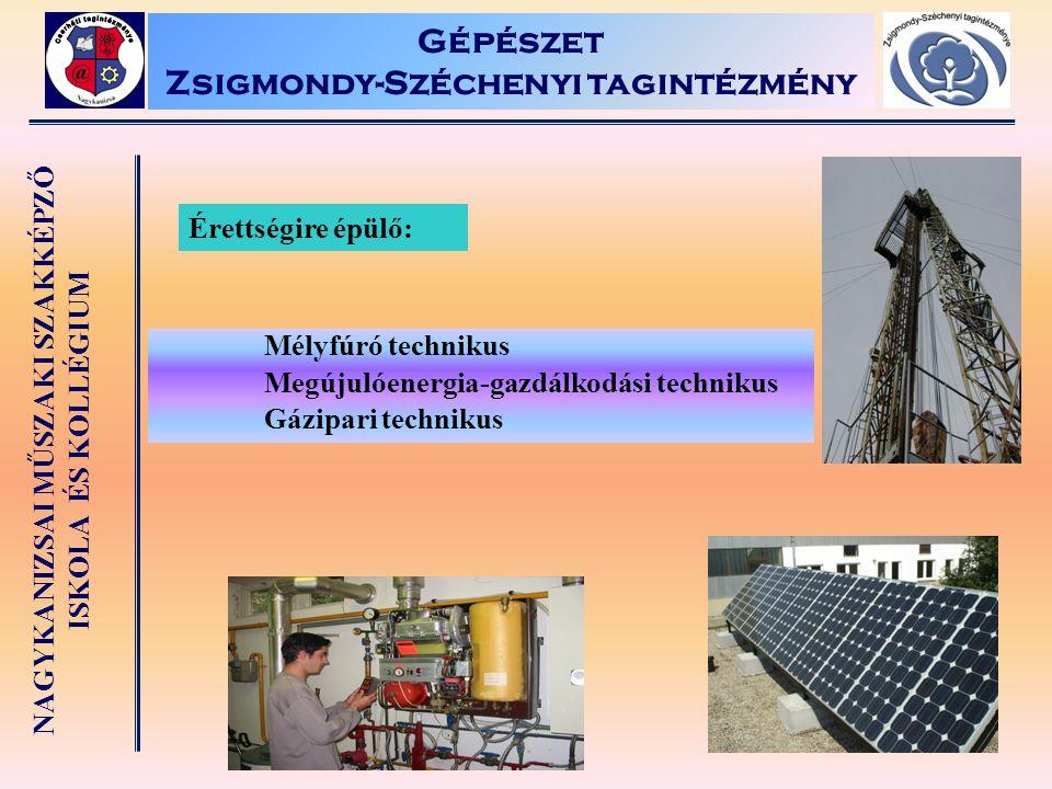 NAGYKANIZSAI MŰSZAKI SZAKKÉPZŐ ISKOLA ÉS KOLLÉGIUM Gépészet Zsigmondy-Széchenyi tagintézmény Érettségire épülő: Mélyfúró technikus Megújulóenergia-gaz
