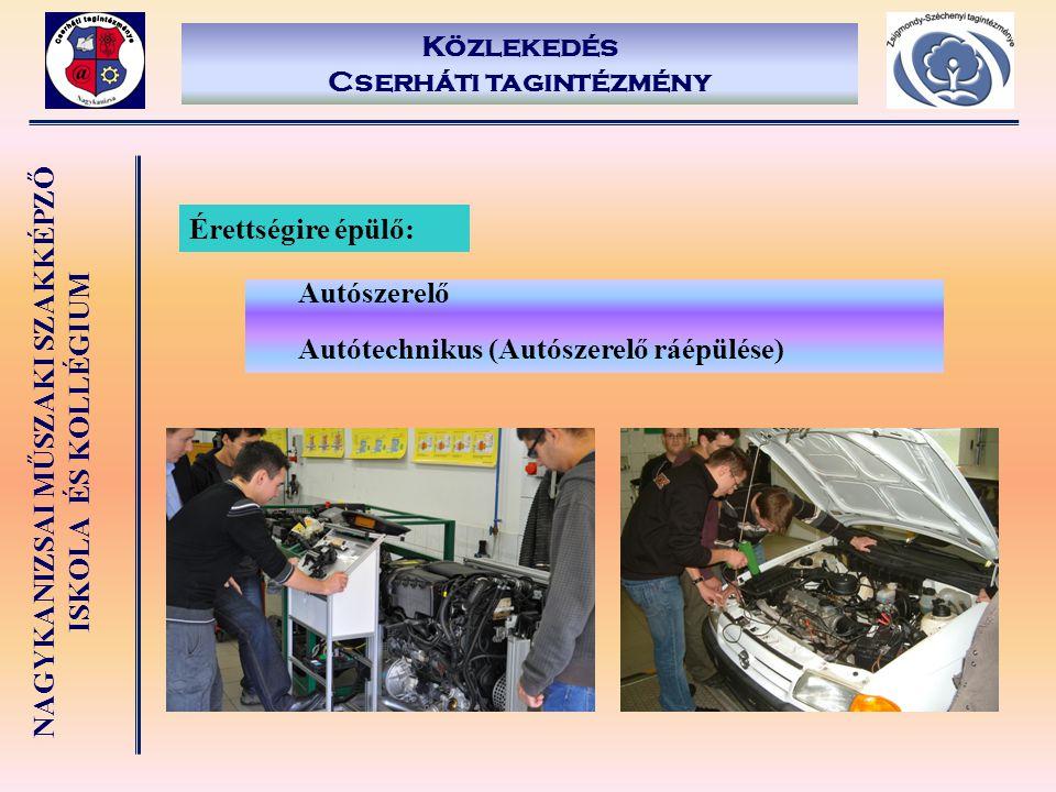 NAGYKANIZSAI MŰSZAKI SZAKKÉPZŐ ISKOLA ÉS KOLLÉGIUM Közlekedés Cserháti tagintézmény Érettségire épülő: Autószerelő Autótechnikus (Autószerelő ráépülés