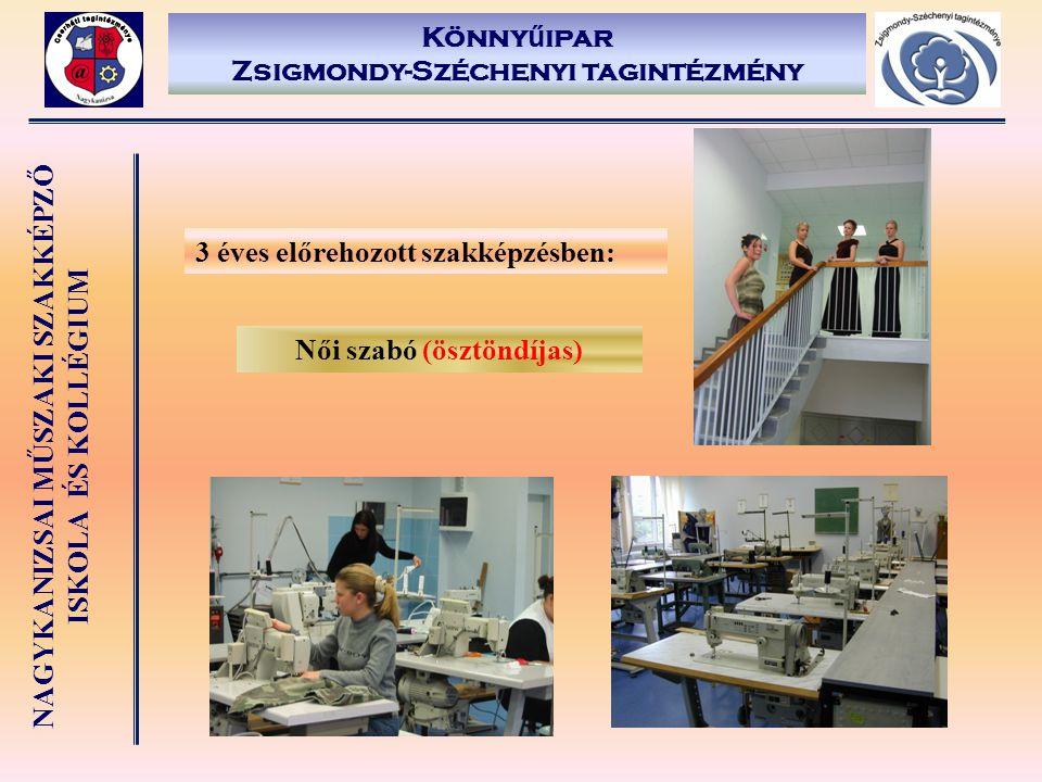 NAGYKANIZSAI MŰSZAKI SZAKKÉPZŐ ISKOLA ÉS KOLLÉGIUM Könny ű ipar Zsigmondy-Széchenyi tagintézmény 3 éves előrehozott szakképzésben: Női szabó (ösztöndí