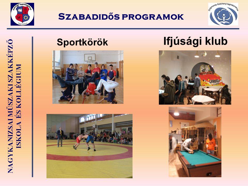 NAGYKANIZSAI MŰSZAKI SZAKKÉPZŐ ISKOLA ÉS KOLLÉGIUM Szabadid ő s programok Ifjúsági klub Sportkörök