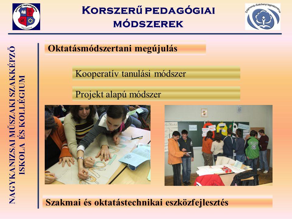 NAGYKANIZSAI MŰSZAKI SZAKKÉPZŐ ISKOLA ÉS KOLLÉGIUM Oktatásmódszertani megújulás Szakmai és oktatástechnikai eszközfejlesztés Kooperatív tanulási módsz