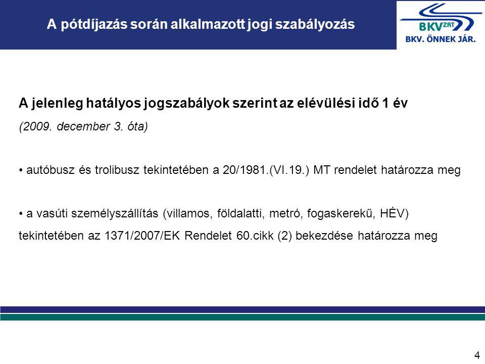 4 A jelenleg hatályos jogszabályok szerint az elévülési idő 1 év (2009. december 3. óta) • autóbusz és trolibusz tekintetében a 20/1981.(VI.19.) MT re