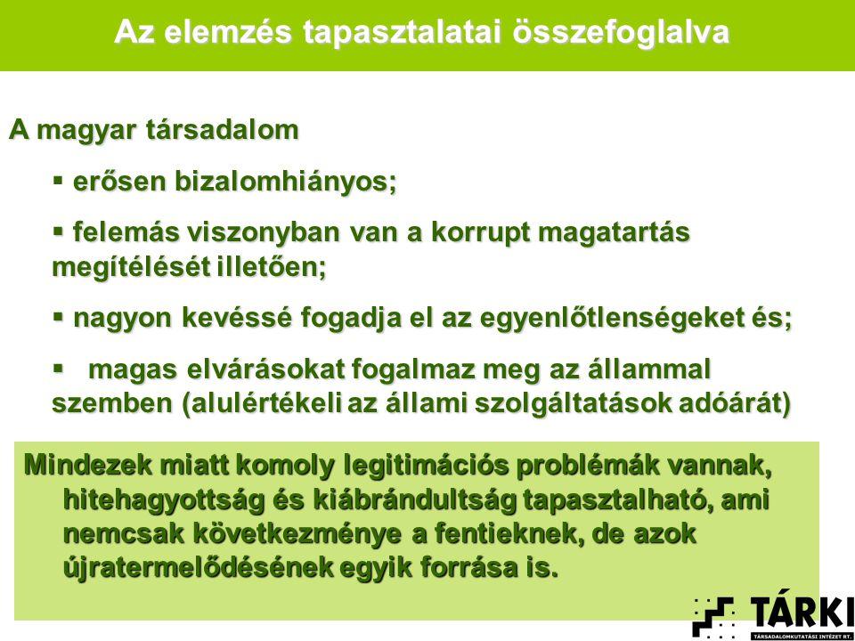 A magyar társadalom erősen bizalomhiányos;  erősen bizalomhiányos;  felemás viszonyban van a korrupt magatartás megítélését illetően;  nagyon kevéssé fogadja el az egyenlőtlenségeket és;  magas elvárásokat fogalmaz meg az állammal szemben (alulértékeli az állami szolgáltatások adóárát) Az elemzés tapasztalatai összefoglalva Mindezek miatt komoly legitimációs problémák vannak, hitehagyottság és kiábrándultság tapasztalható, ami nemcsak következménye a fentieknek, de azok újratermelődésének egyik forrása is.