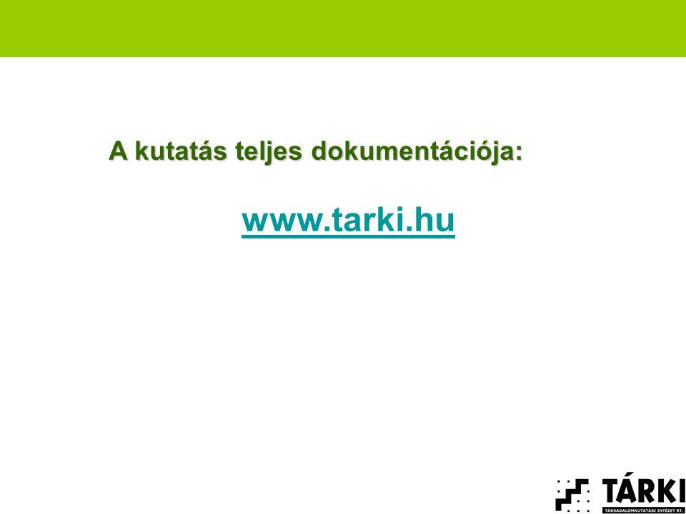 A kutatás teljes dokumentációja: www.tarki.hu
