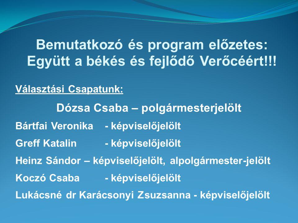 Választási Csapatunk: Dózsa Csaba – polgármesterjelölt Bártfai Veronika - képviselőjelölt Greff Katalin - képviselőjelölt Heinz Sándor – képviselőjelö
