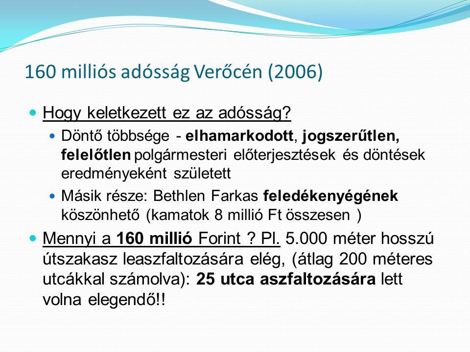 160 milliós adósság Verőcén (2006)  Hogy keletkezett ez az adósság?  Döntő többsége - elhamarkodott, jogszerűtlen, felelőtlen polgármesteri előterje