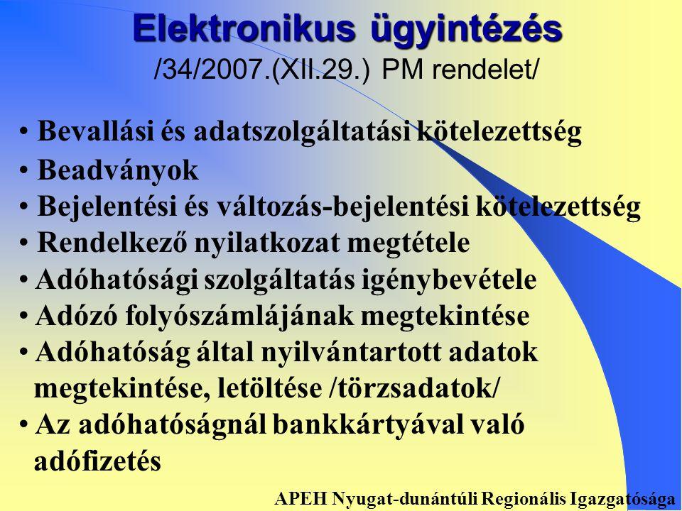 ELEKTRONIKUS ÜGYINTÉZÉS, BEVALLÁS APEH Nyugat-dunántúli Regionális Igazgatósága