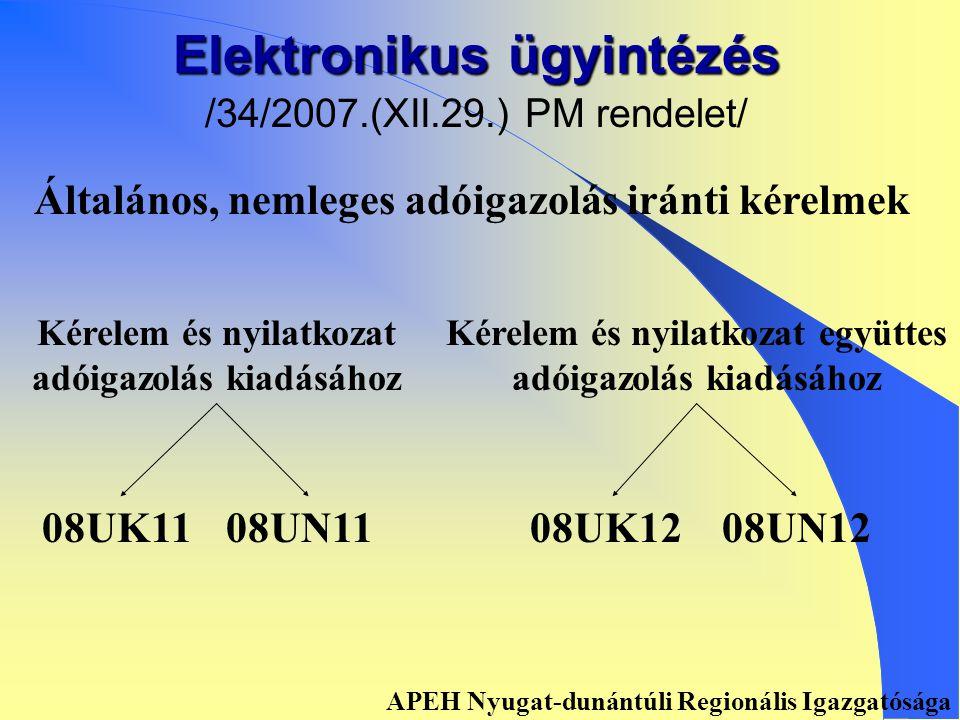 Elektronikus ügyintézés /34/2007.(XII.29.) PM rendelet/ • • Bevallási és adatszolgáltatási kötelezettség • • Beadványok • • Bejelentési és változás-bejelentési kötelezettség • • Rendelkező nyilatkozat megtétele • • Adóhatósági szolgáltatás igénybevétele • • Adózó folyószámlájának megtekintése • • Adóhatóság által nyilvántartott adatok megtekintése, letöltése /törzsadatok/ • • Az adóhatóságnál bankkártyával való adófizetés APEH Nyugat-dunántúli Regionális Igazgatósága