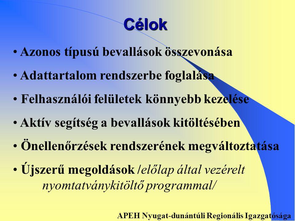 BEVALLÁS EGYSZERŰSÍTÉS, KORSZERŰSÍTÉS APEH Nyugat-dunántúli Regionális Igazgatósága
