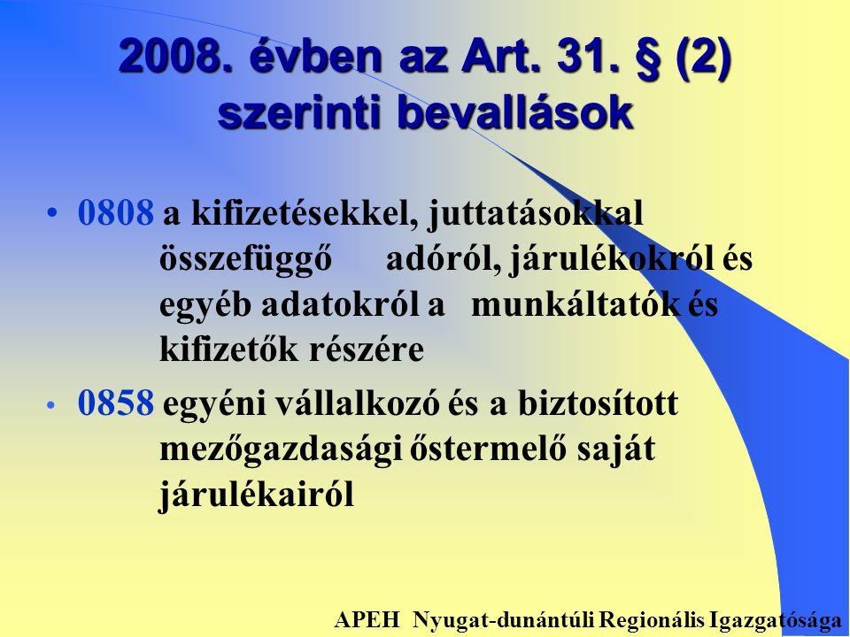 2008. ÉVI BEVALLÁSI KÖTELEZETTSÉG APEH Nyugat-dunántúli Regionális Igazgatósága