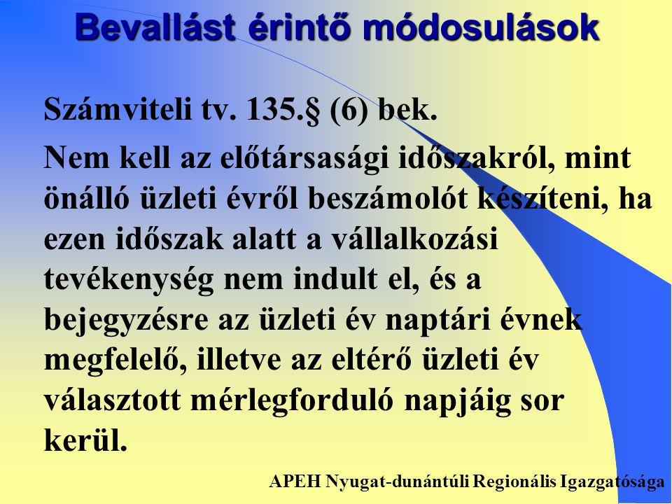 Bevallást érintő módosulások ART. 31.§ (6) bek. Az az adózó, aki az Art.