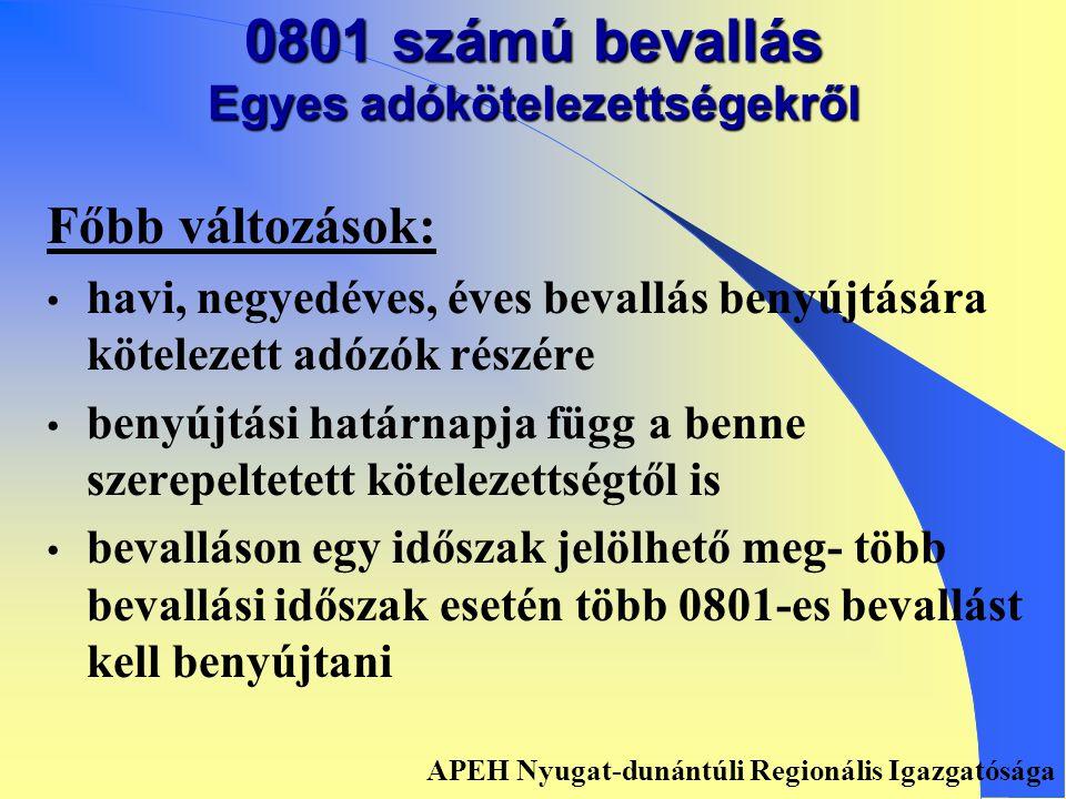 Összevonással érintett bevallások ´01 ´29K ´03 ´05 0801 APEH Nyugat-dunántúli Regionális Igazgatósága