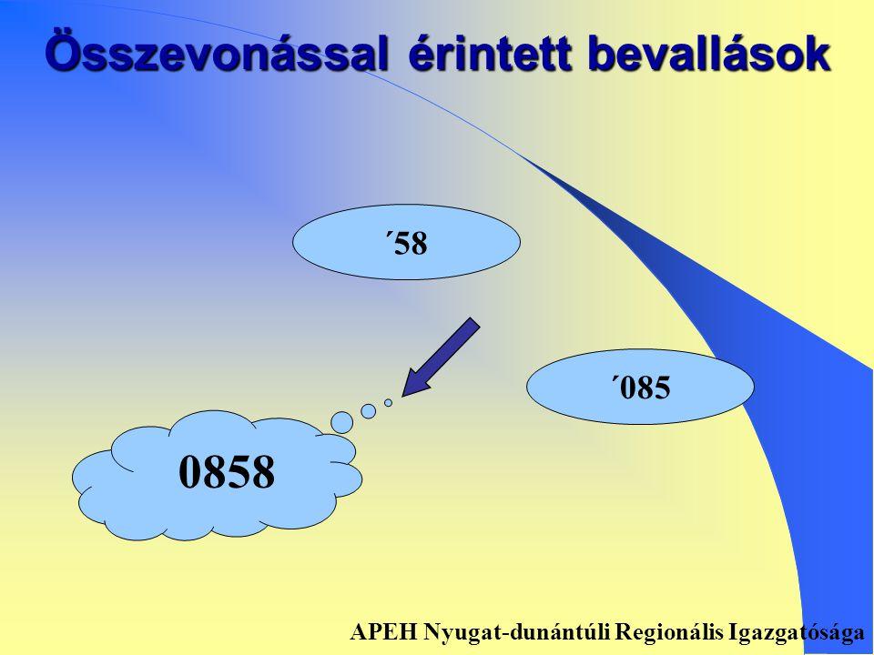 Összevonással érintett bevallások ´251 ´491 08251 APEH Nyugat-dunántúli Regionális Igazgatósága