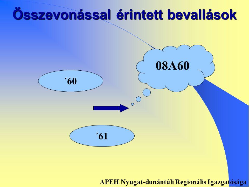 Összevonással érintett bevallások ´58 ´085 0858 APEH Nyugat-dunántúli Regionális Igazgatósága